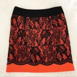 🔥 2/ $20 The Limited Orange Skirt with Black Lace